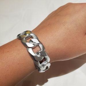Silver Chain Metal Cuff Bracelet